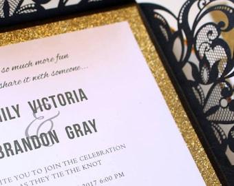 Black and glitter gold Laser wedding invitation