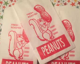 Peanuts Get Your Peanuts....Cute Peanut Bags With Retro Graphics 12 Bags Fast Economical Shipping