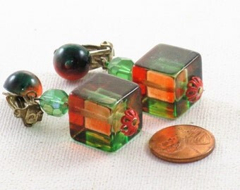 Vintage Japan Orange and Green Lucite Dangling Clip Earrings  (E-1-4)
