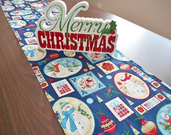 Snowmen Table Runner Christmas Rustic Poinsettia Presents Cardinal Ornaments Trees Candy Cane Noel Blue Red Green Turquoise Beige Reversible