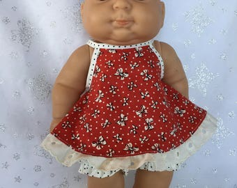 Tiny Bows and Dots Dress with Bloomers for 13 inch baby doll like Berenguer