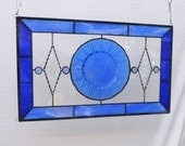 OOAK Stained Glass Panel, Vintage Avon Plate Stained Glass Transom Window, Antique Stained Glass Window Panel, Recycled Dish Window Valance