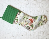 "Grandma Moses ""Deep Snow"" Vintage Barkcloth Christmas Stocking with Dark Green Vintage Chenille Cuff"