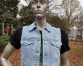 SALE 30% OFF Womens 80s Vest, Cropped Vest, Denim Vest, Vintage Vest by Be Bop Size Small