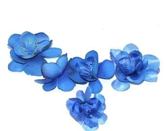 5 Royal Blue Apple Blossoms - Artificial Flowers, Silk Blossoms