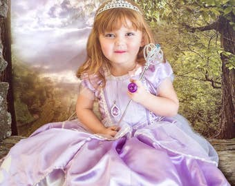 New Sofia Inspired princess birthday Costume dress size  4 6 8 10  toddler girl dress up with necklace