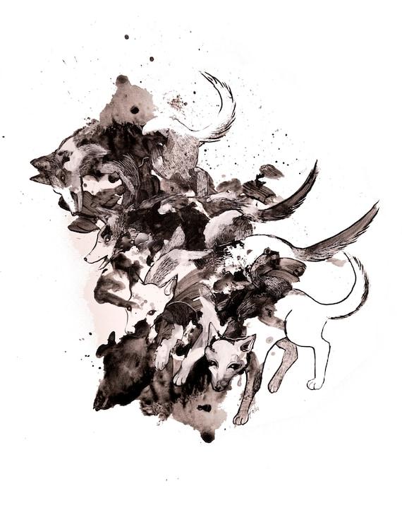 minimalist watercolor print: Storm Force
