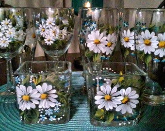 Daisies - Hand Painted Wine Glasses - On any size Wine Glass, Tea/Water Glass, Champagne Flute, Candle Holder