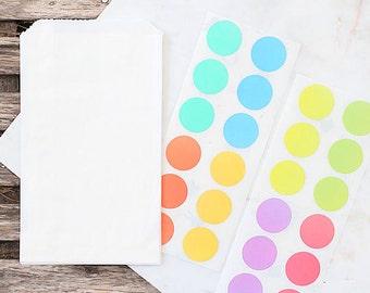 Small Pastel Rainbow Favor Bag Kit, Glassine Bags, Pastel Stickers, Rainbow Stickers, Easter Candy Bags, Pastel Wedding Favor Bags