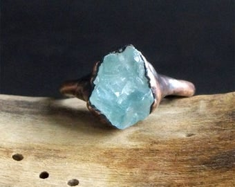 Aquamarine Raw Crystal Small Stone Ring Midwest Alchemy Size 6 Natural Jewelry Copper Aquamarine March Birthstone