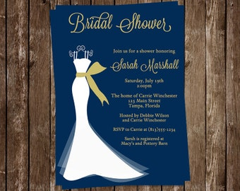 Bridal Shower Invitations, Wedding Gown, Navy, Blue, White, Dress, Gold, Set of 10 Printed Cards, FREE Shipping, ELGNG, Elegant Gown Navy