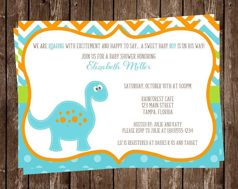 dinosaur baby shower invitation chevron stripes blue, Birthday invitations
