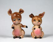 Vintage Pig Figurines by Josef Originals Brown Pink Bisque Made In Japan 1960s from This Little Piggy Series