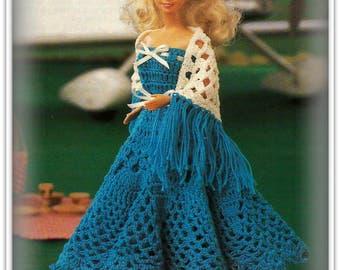 Crochet Barbie Dress and Shawl Pattern - Fashion Doll Size - Pattern CR505192 - Pineapple Crochet