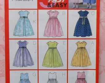 Girls Dress Sewing Pattern UNCUT Butterick 6419 Sizes 6-8