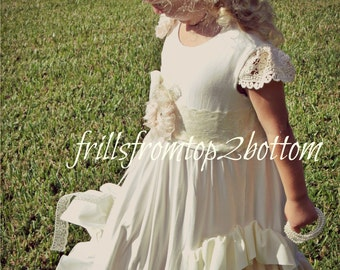 Ivory Ruffle Girl Dress . Flower Girl . Special Occasion