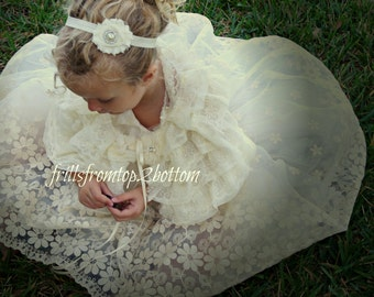 Flower Lace Flower Girl Dress . Lace Halter Top. Tulle Skirt . Lace Straps