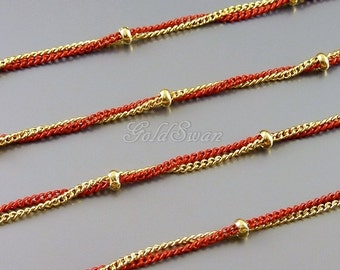 1 meter unique red & gold two tone / bicolor twist chain, bead station chain, ball chain B145G-RD (red and gold)