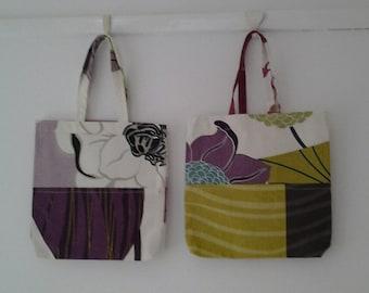 Small tote bags, 2 gift bags,fabric bags, Present bag,reusable bags,upcycled bag, mothers day gift,small bag