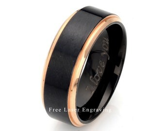 wedding band mens wedding ring titanium ring black wedding band two tone
