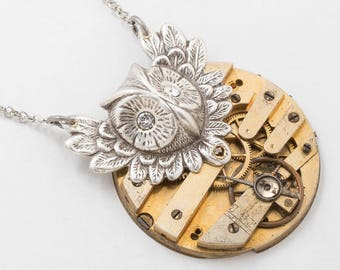 Steampunk Necklace, Silver Owl Pendant on Vintage Gold Gilt Pocket Watch Movement with Ruby Jewels, Gears & Swarovski Crystal Jewelry Gift