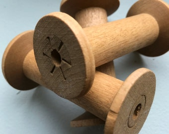 Blonde Wooden Bobbins 3 Inch Wood Thread Spools Set of 12 Primitive Rustic Cabin Decor