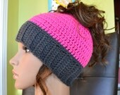 Women Crochet Ponytail Hat - Bun Hat - Messy Bun Beanie With Lotus Buttons