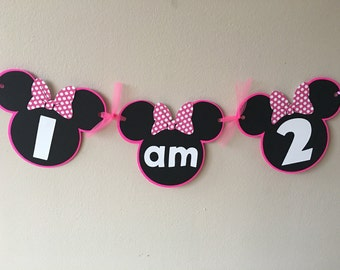 Pink Minnie Mouse I am Two High Chair Sign Banner - Minnie Mouse Inspired Pink banner 1st First Birthday Party Banner Chair Sign