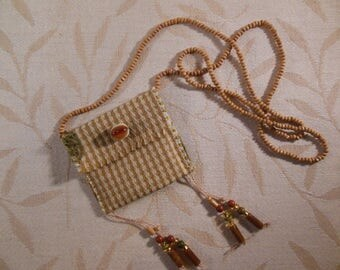 Beaded Fabric Boho Pouch Necklace, Poem Keeper, Tan and Flax Checks, Green Snail on Back