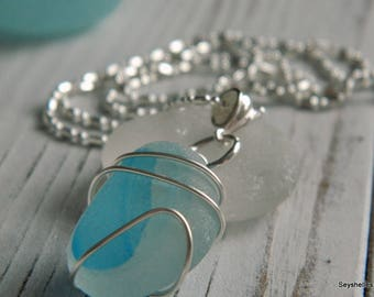 Natural Aqua and White Sea Glass Wire Wrapped Necklace, Seyshelles Sea Glass Necklace