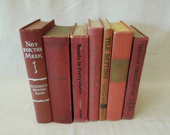 Rustic Book Stack - Coral Brick Rust Colored Book Set - Decorative Books - Book by Color Vintage