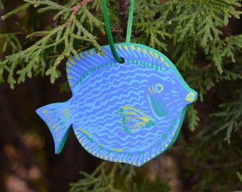 """Painted Wooden Fish Ornament """"Blue Tang"""""""