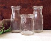 Trio of Glass Farm Bottles Pint Half Pint Milk Bottles