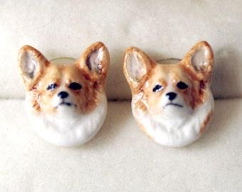 Vintage Figural Pierced Earrings Porcelain Pembroke Welsh Corgi Dogs