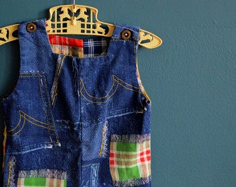 Vintage Baby's Faux Denim and Patchwork Romper - Size 12 Months