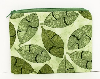 Small Zipper Pouch, Tropical Leaves, Green Coin Purse Bag
