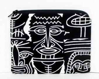 Pouch Small Zippered, Black Tiki Bag, Alexander Henry Fabric
