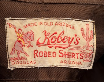 1940s Western Shirt Cowboy Kobey's Rodeo Wear Brown Douglas Arizona Satin Size Small