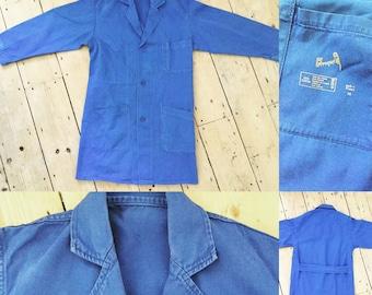 FLASH SALE Vintage French Bleu Workwear Jacket | Longline Tab Back | Chore Coat | S M  | Au Perroquet