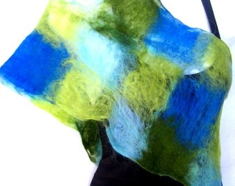 Felted Scarf, Lacy, Cobweb, Blue Green, Merino Wool Felt Scarf, Gift For Her