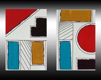 "Original Geometric Painting Abstract Painting Graphic Art Diptych Acrylic Ink Bauhaus 2-6"" x 9"" on Canvas Linen Paper"