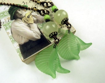 Chain Pull Pair for Ceiling Fans or Lamps with Cool Green Acrylic Leaf Drops and Pale Green Accents