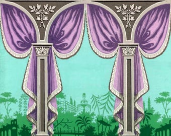 antique french Marie Antoinette style wallpaper drapery purple turquoise illustration digital download