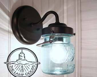 Vintage BLUE Canning Jar SCONCE Light - Mason Jar Wall Sconce Flush Mount Lighting Fixture Farmhouse Chandelier Pendant Ceiling by LampGoods
