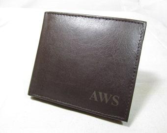 RFID Monogrammed Leather Bifold Brown Wallet, Engraved Wallet, Personalized Wallet, Groomsman, Groomsmen Gifts, Mens Wallet, Initials