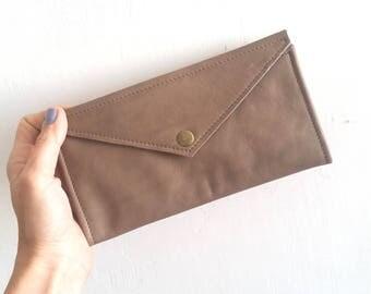 Woman wallet ,Brown leather envelope  wallet
