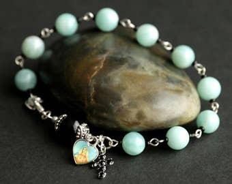 Sacred Heart Rosary Bracelet. Aventurine Catholic Bracelet. Black and Aqua Wrist Rosary. Prayer Beads. Catholic Jewelry. Handmade Chaplet.