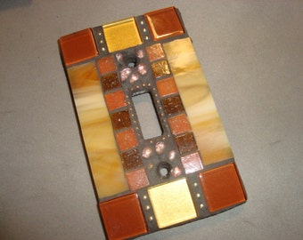 MOSAIC Light Switch Plate -  Single Switch, Wall Art, Wall Plate, Earth Tones, Tan, Chocolate