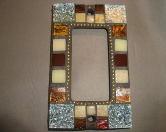 MOSAIC Outlet Cover or Switch Plate, GFI Decora, Wall Plate, Wall Art, Silver, brown, Copper, Off White, Gold