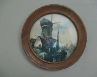 Antique Vintage Wall Hanging Picture Dutch Holland Windmill
